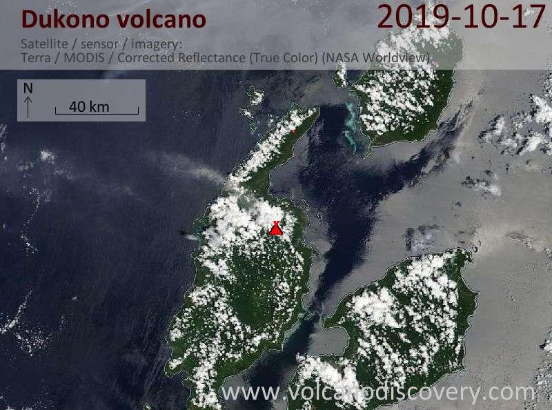 Спутниковое изображение вулкана Dukono 17 Oct 2019