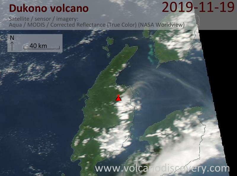Спутниковое изображение вулкана Dukono 20 Nov 2019