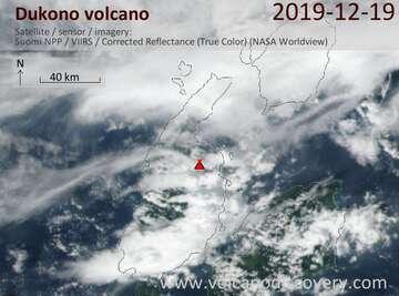 Satellite image of Dukono volcano on 19 Dec 2019