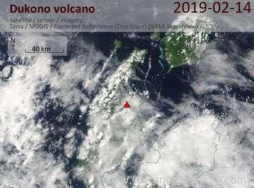 Satellite image of Dukono volcano on 14 Feb 2019