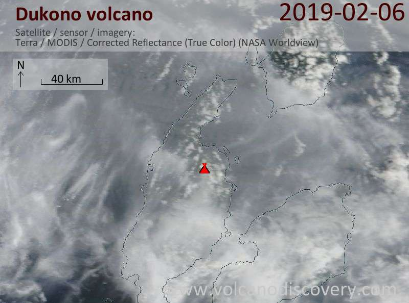 Satellite image of Dukono volcano on  6 Feb 2019
