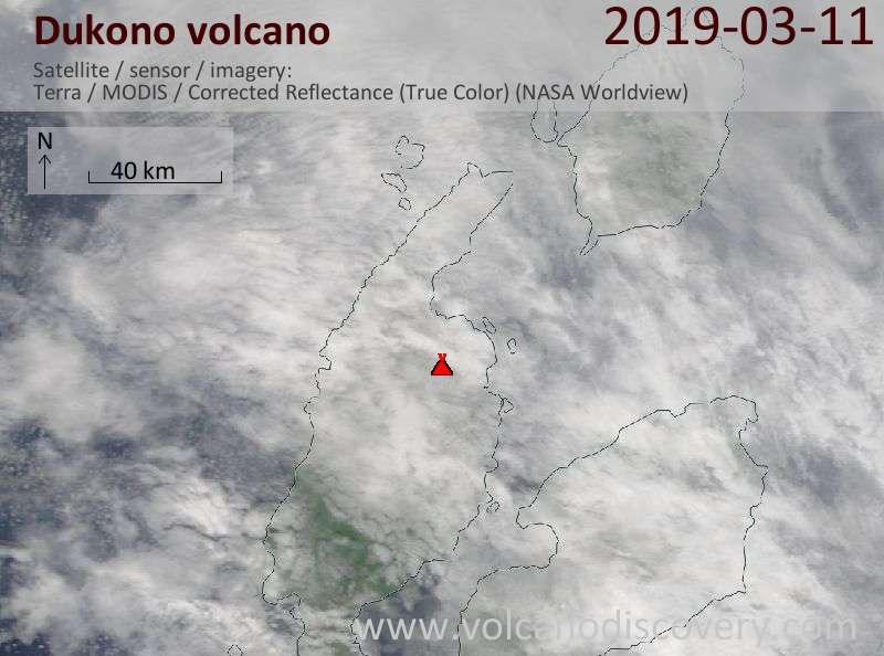 Satellite image of Dukono volcano on 11 Mar 2019