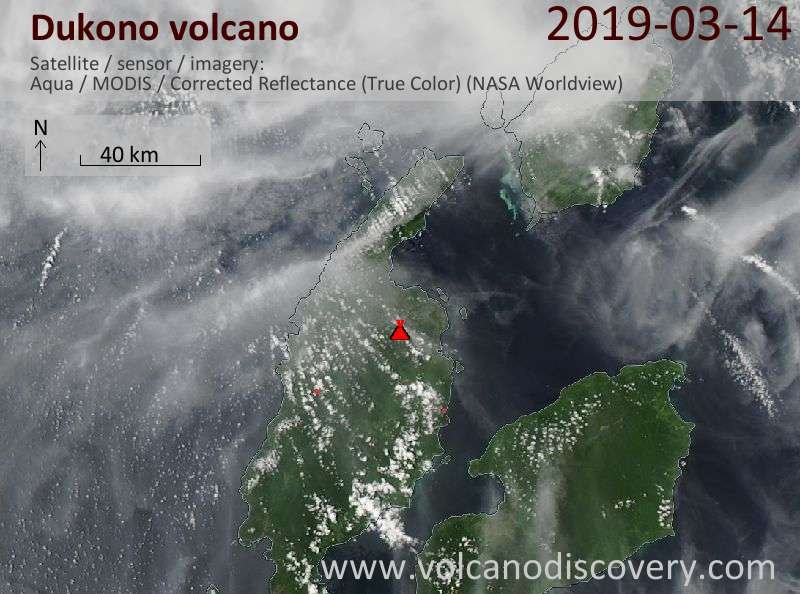 Satellite image of Dukono volcano on 15 Mar 2019