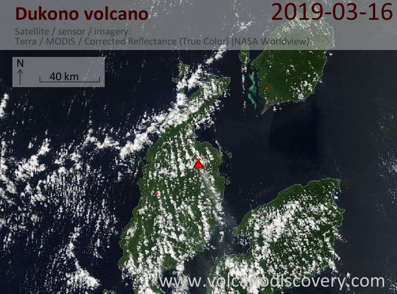 Satellite image of Dukono volcano on 16 Mar 2019