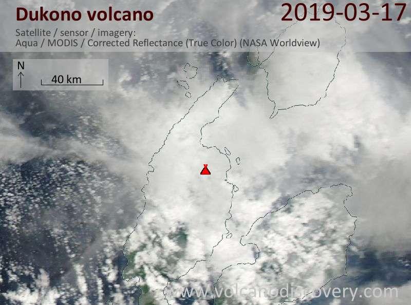 Спутниковое изображение вулкана Dukono 17 Mar 2019
