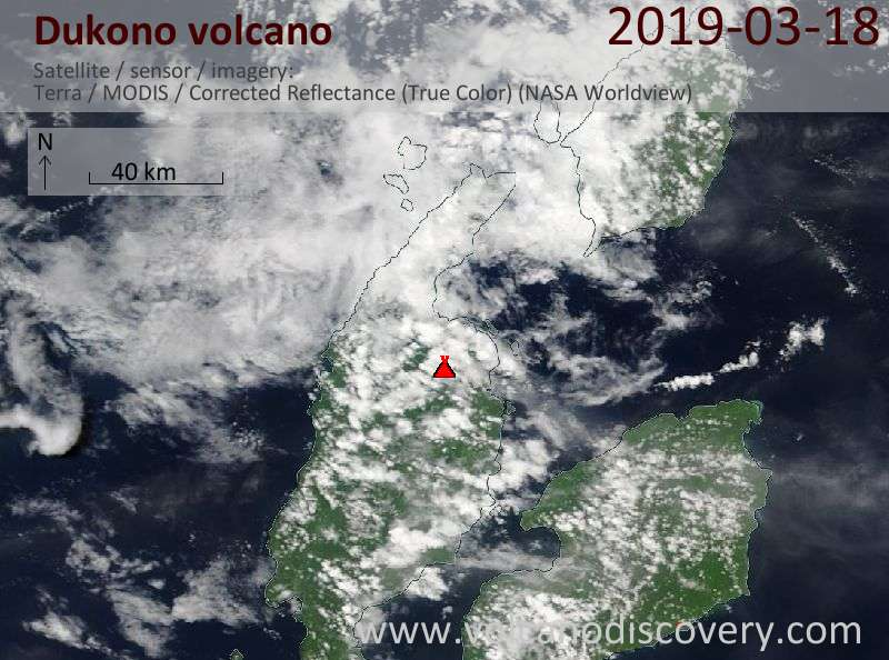 Спутниковое изображение вулкана Dukono 18 Mar 2019