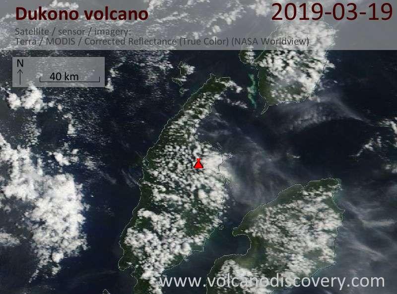 Спутниковое изображение вулкана Dukono 19 Mar 2019