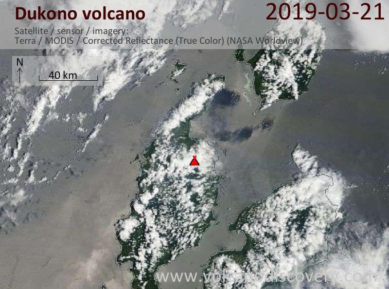 Спутниковое изображение вулкана Dukono 21 Mar 2019