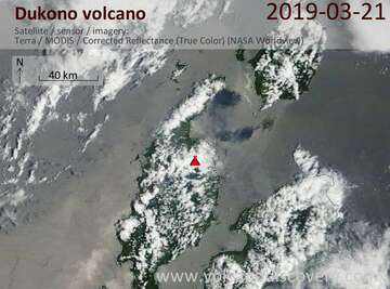 Satellite image of Dukono volcano on 21 Mar 2019