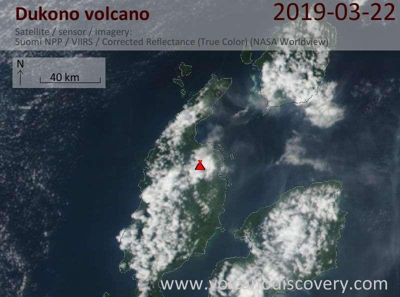 Спутниковое изображение вулкана Dukono 22 Mar 2019