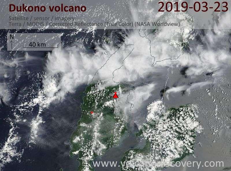 Спутниковое изображение вулкана Dukono 23 Mar 2019
