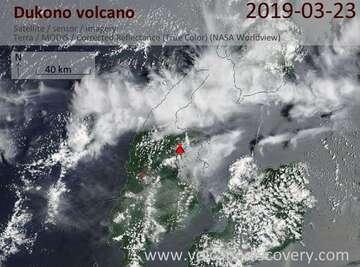 Satellite image of Dukono volcano on 23 Mar 2019