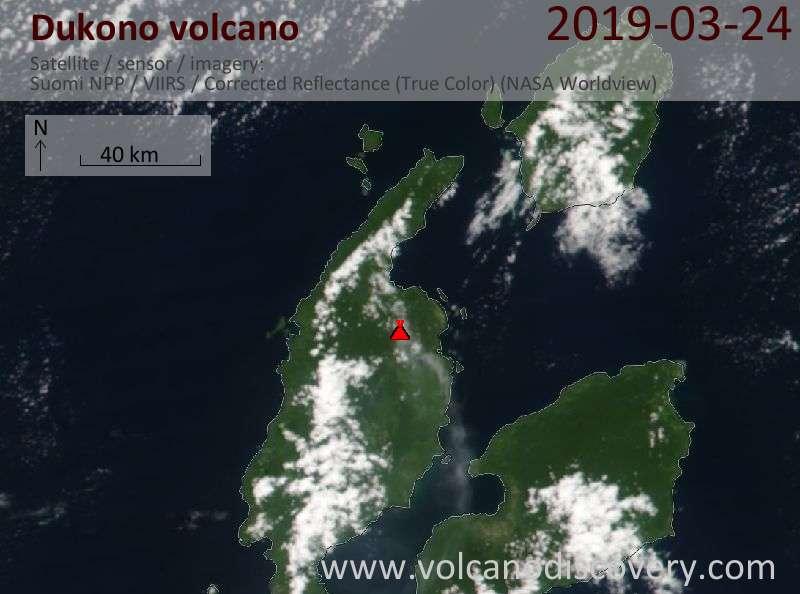 Satellite image of Dukono volcano on 24 Mar 2019