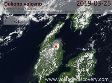 Satellite image of Dukono volcano on 25 Mar 2019