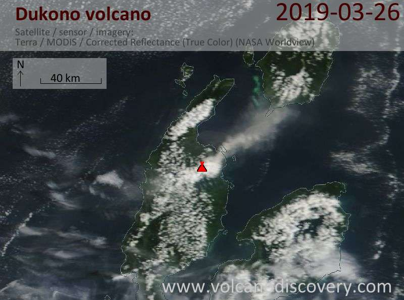 Satellite image of Dukono volcano on 26 Mar 2019
