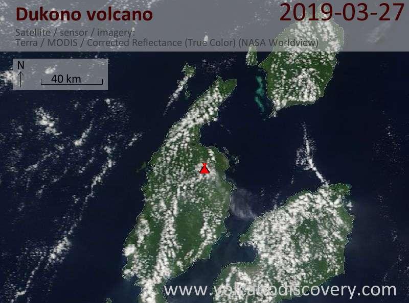 Satellite image of Dukono volcano on 27 Mar 2019