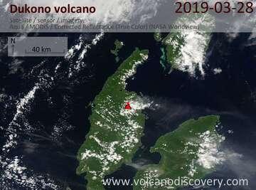 Satellite image of Dukono volcano on 28 Mar 2019
