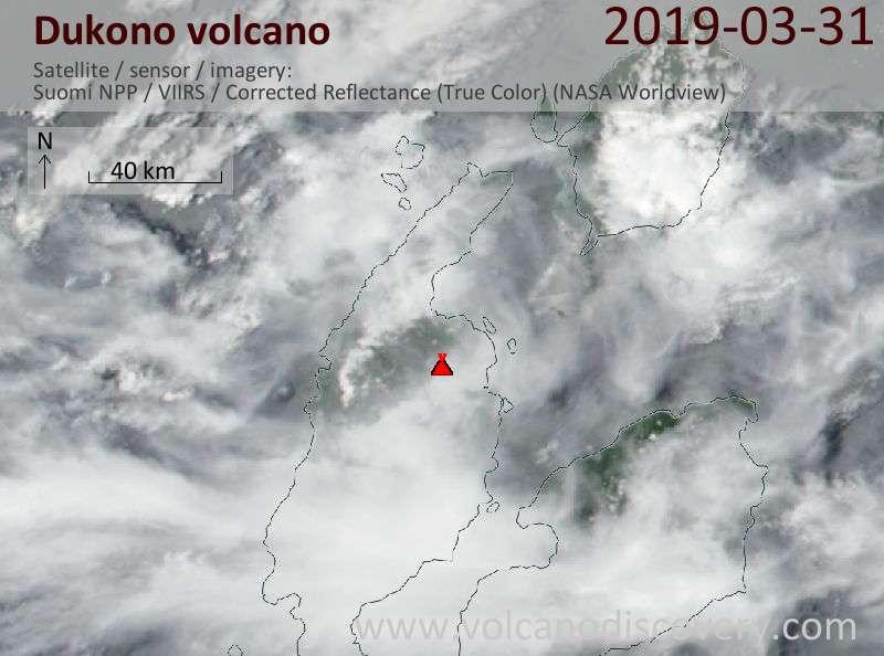 Спутниковое изображение вулкана Dukono 31 Mar 2019