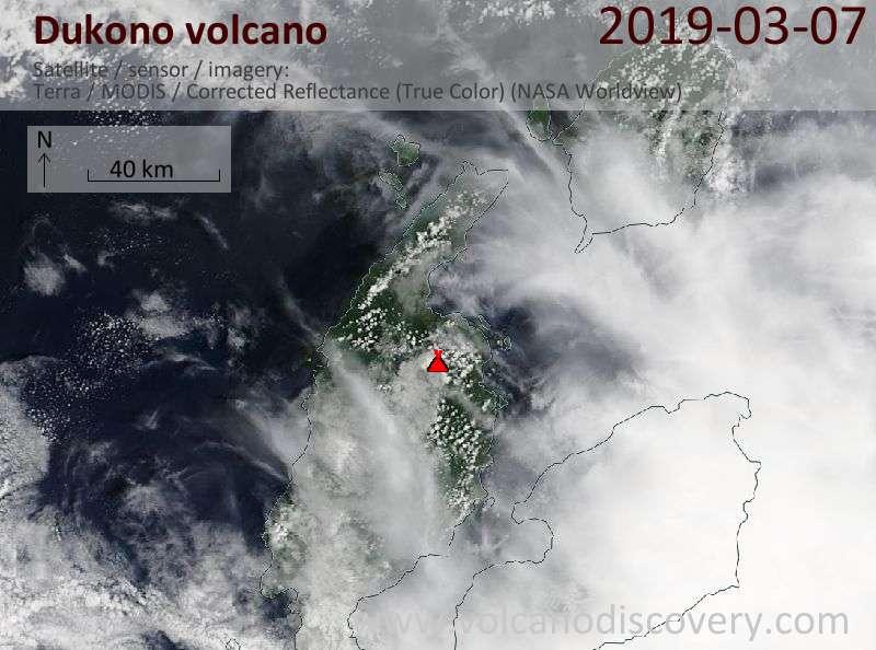 Satellite image of Dukono volcano on  7 Mar 2019