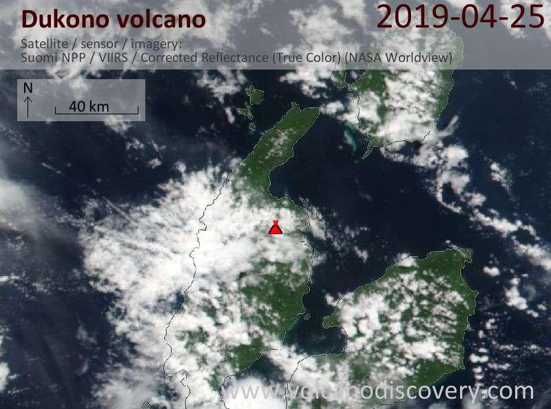 Satellite image of Dukono volcano on 25 Apr 2019