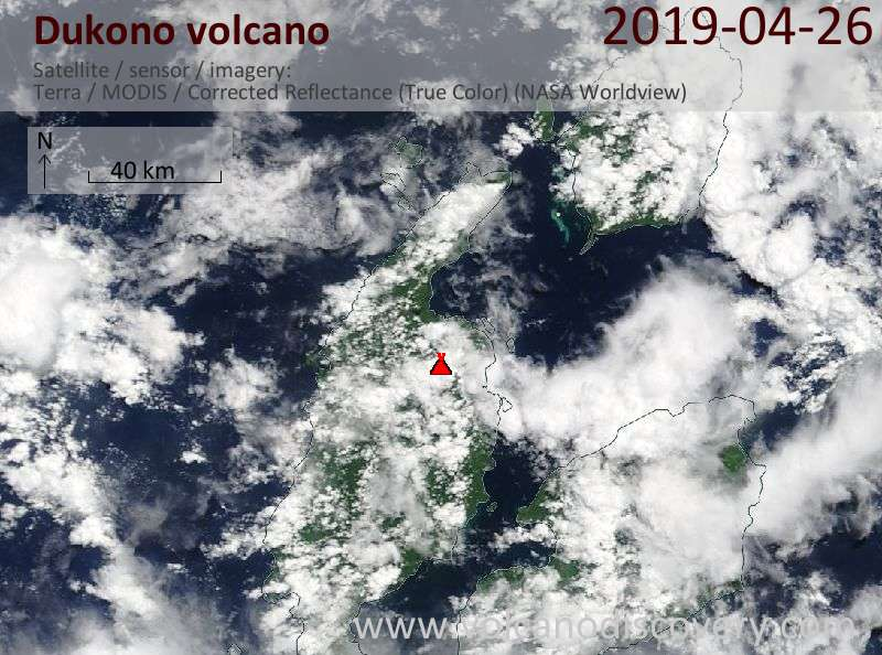Satellite image of Dukono volcano on 26 Apr 2019