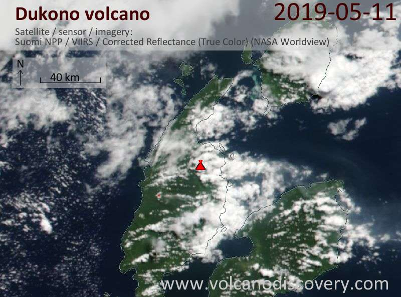 Satellite image of Dukono volcano on 11 May 2019