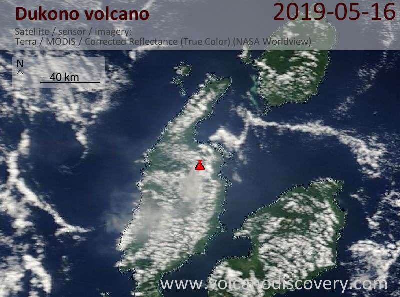Satellite image of Dukono volcano on 16 May 2019