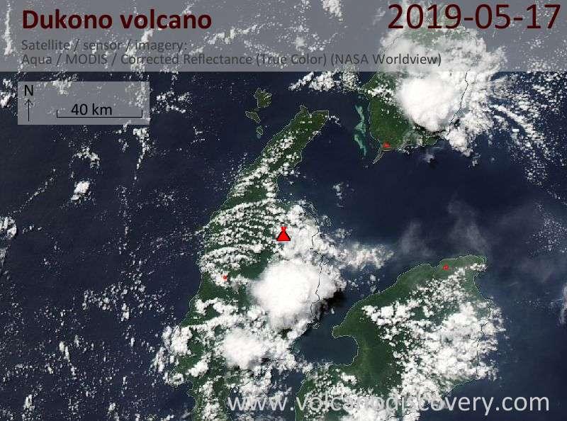 Satellite image of Dukono volcano on 17 May 2019