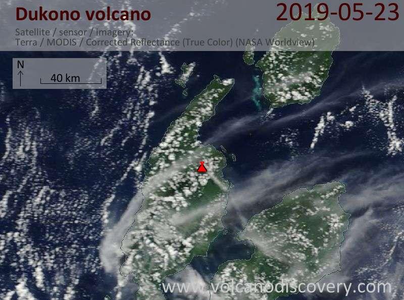Satellite image of Dukono volcano on 23 May 2019