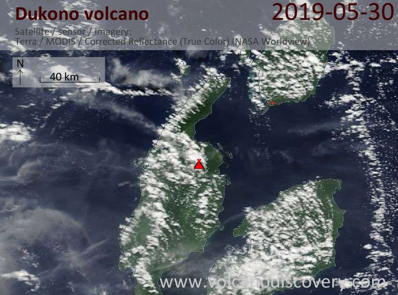 Satellite image of Dukono volcano on 30 May 2019