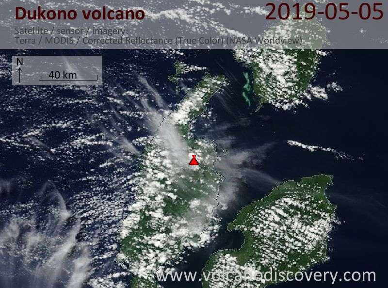 Satellite image of Dukono volcano on  5 May 2019