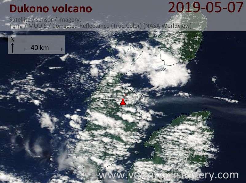 Satellite image of Dukono volcano on  7 May 2019