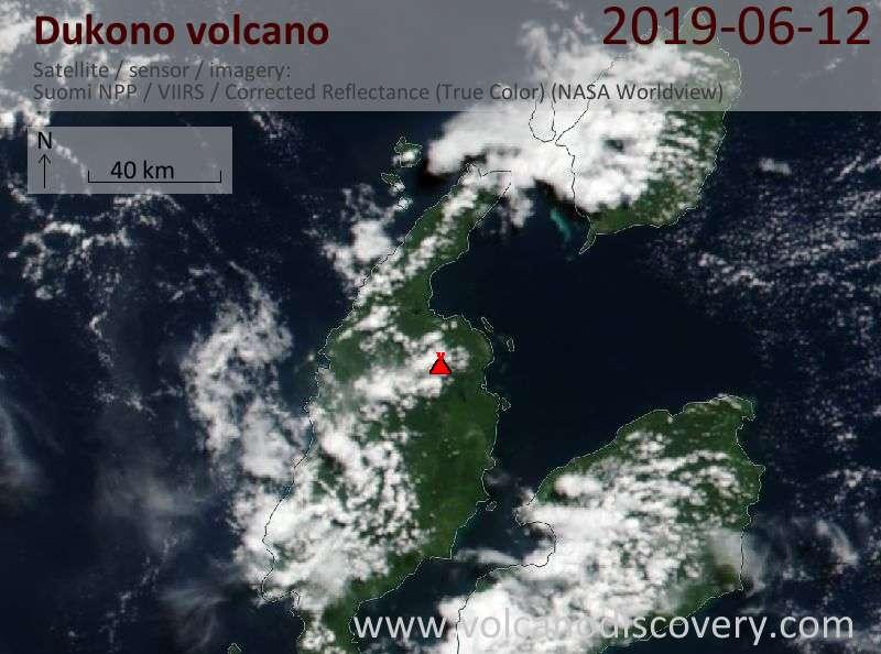 Спутниковое изображение вулкана Dukono 12 Jun 2019