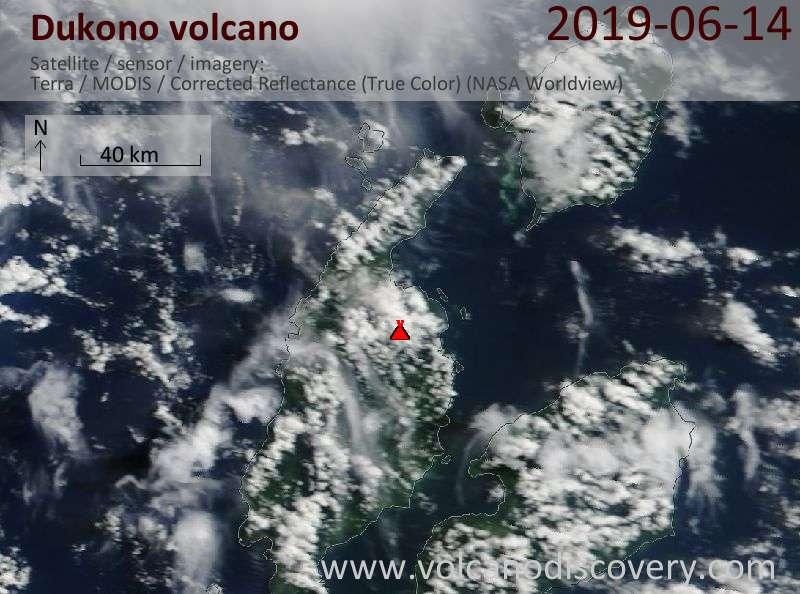 Satellite image of Dukono volcano on 14 Jun 2019