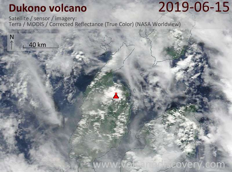 Satellite image of Dukono volcano on 15 Jun 2019