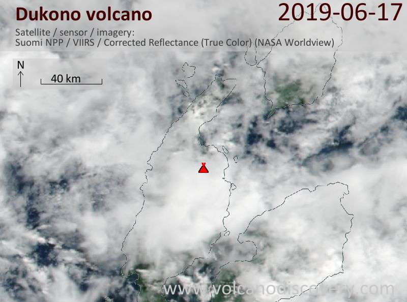 Satellite image of Dukono volcano on 17 Jun 2019