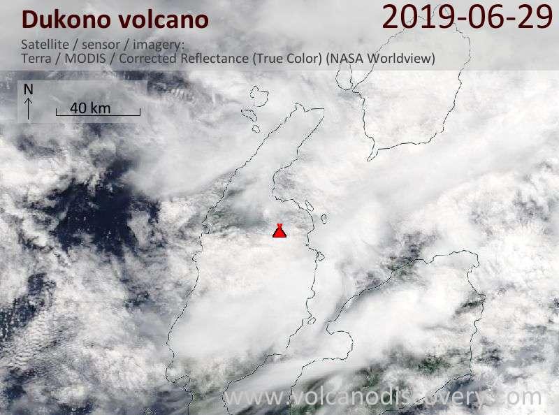 Satellite image of Dukono volcano on 29 Jun 2019