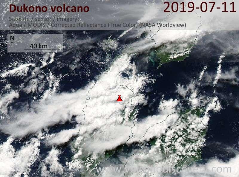 Спутниковое изображение вулкана Dukono 11 Jul 2019