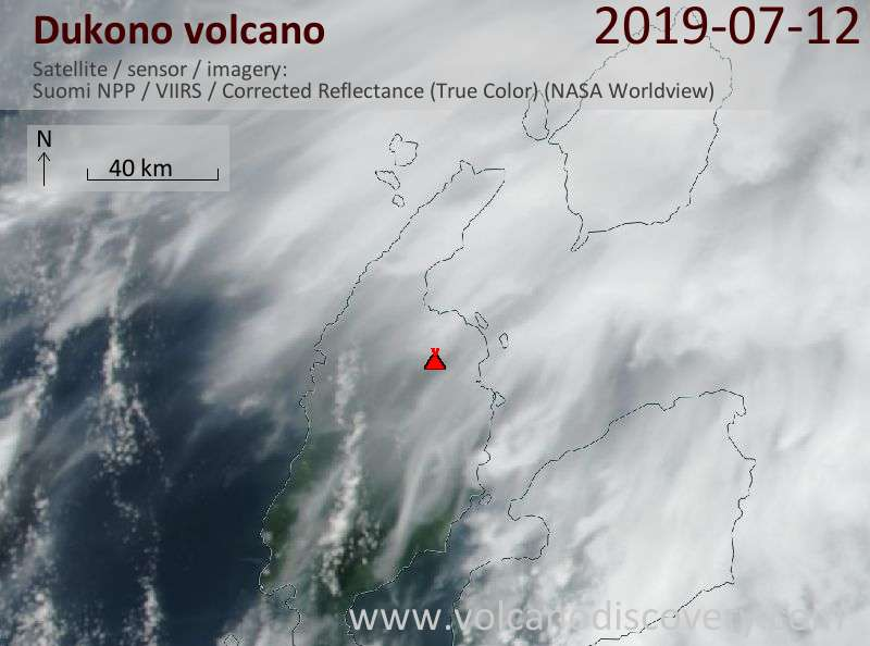 Satellitenbild des Dukono Vulkans am 12 Jul 2019