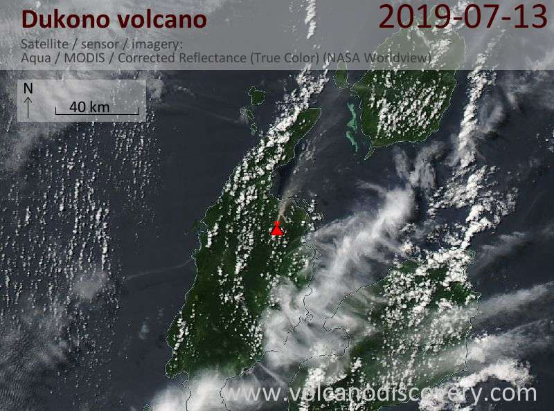 Satellite image of Dukono volcano on 13 Jul 2019