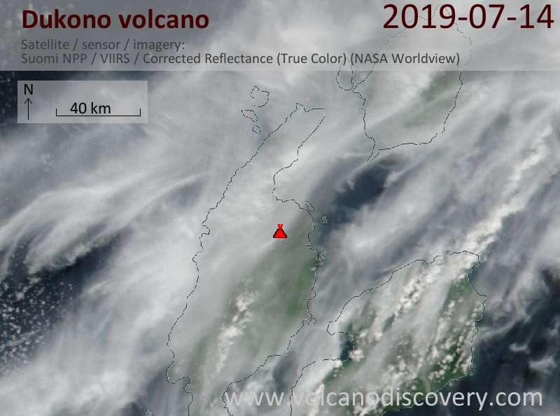 Satellite image of Dukono volcano on 14 Jul 2019
