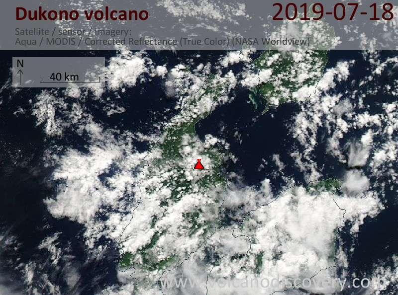 Satellitenbild des Dukono Vulkans am 18 Jul 2019