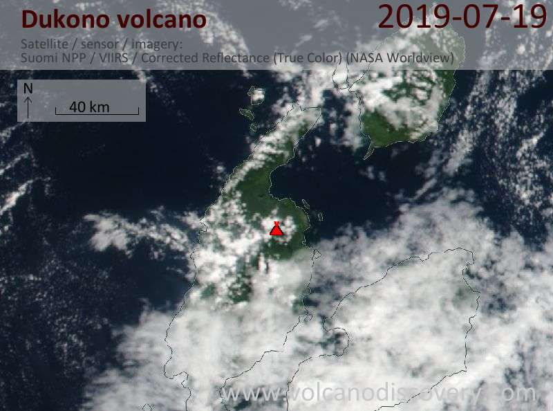 Satellite image of Dukono volcano on 19 Jul 2019