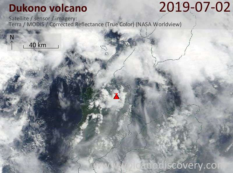 Satellitenbild des Dukono Vulkans am  2 Jul 2019