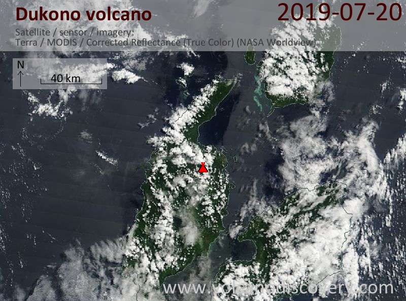 Satellite image of Dukono volcano on 20 Jul 2019