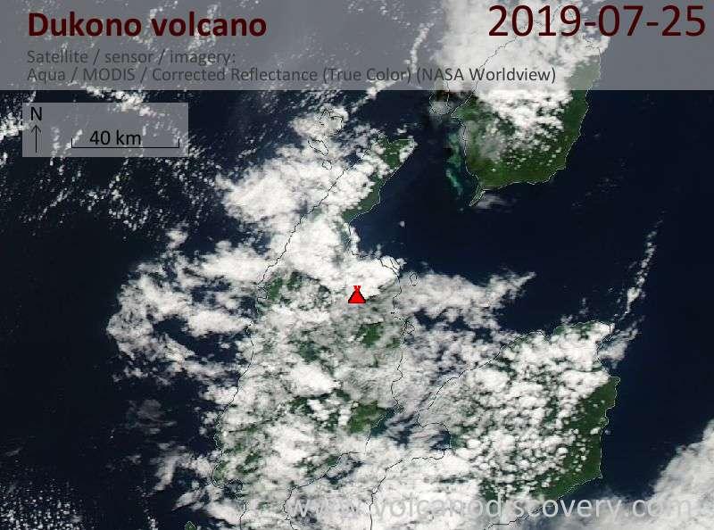 Satellite image of Dukono volcano on 25 Jul 2019