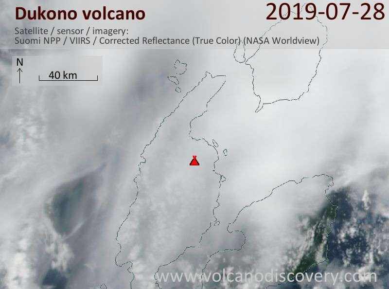 Satellite image of Dukono volcano on 29 Jul 2019