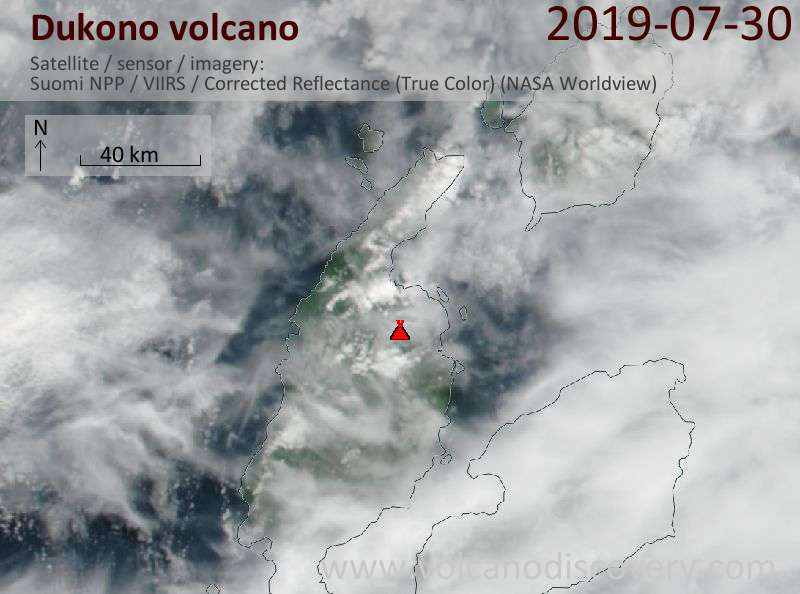 Satellite image of Dukono volcano on 30 Jul 2019