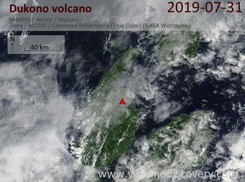 Satellite image of Dukono volcano on 31 Jul 2019