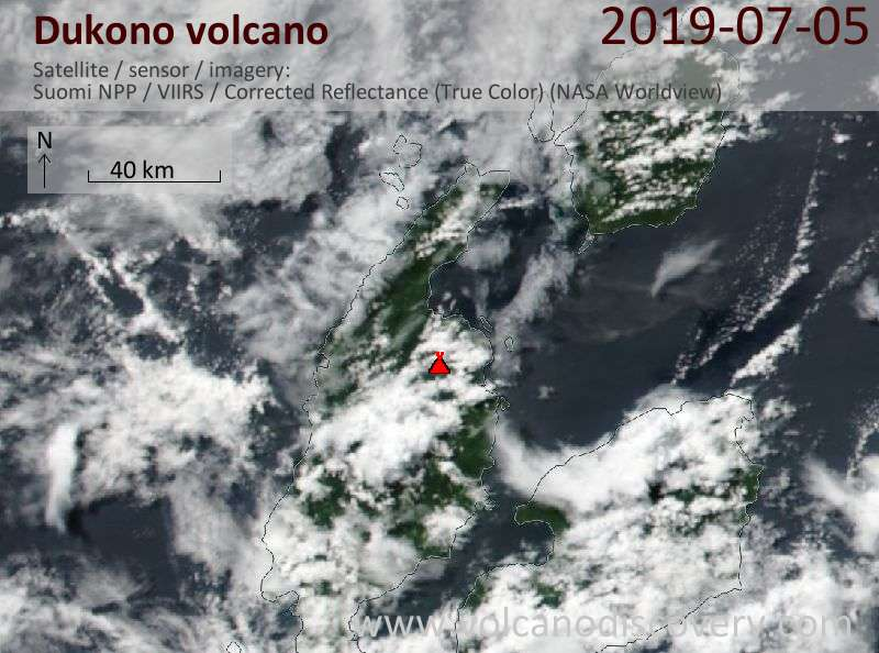 Satellite image of Dukono volcano on  5 Jul 2019